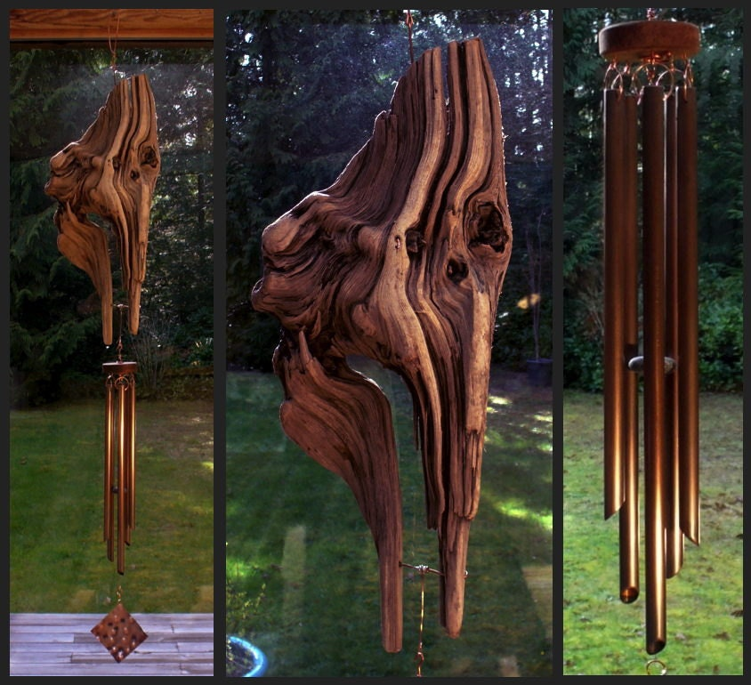 wind chime driftwood copper wind chimes windchime. Black Bedroom Furniture Sets. Home Design Ideas