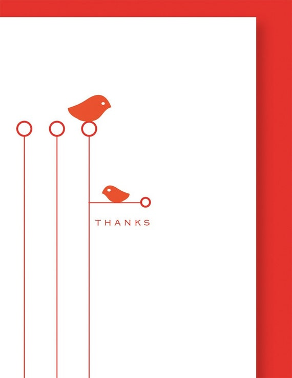 6 Thanks Birds Cards