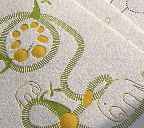 Elephants limited edition letterpress print