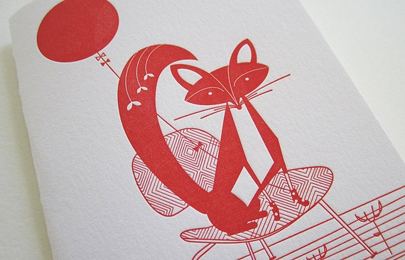 Set of 5 Letterpress Fox and Balloon Notecards