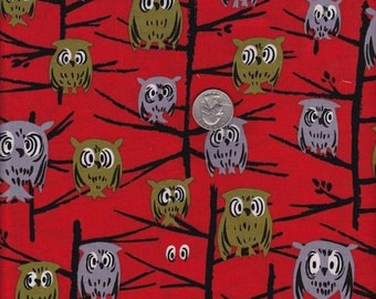 Fat quarter - Tammis Keefe Hoot in Red - Michael Miller cotton quilt fabric