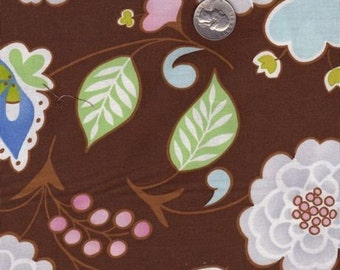 SALE - Fat quarter - Dena Designs Leanika Floral in Brown cotton quilt fabric