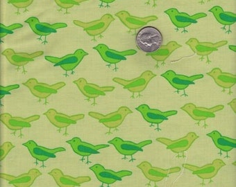 SALE - One yard - Birds in Lime - Valori Wells Nest cotton quilt fabric