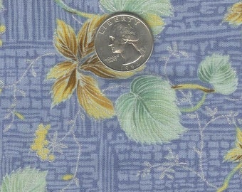 CLEARANCE - Half yard - lovely leaves on blue with silver accents cotton quilt fabric