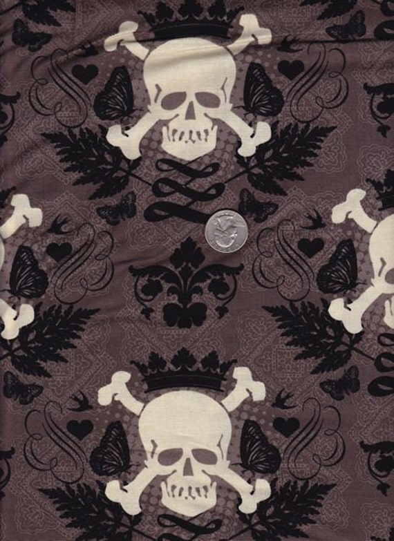 One yard - Skully in Mud - Michael Miller cotton quilt fabric