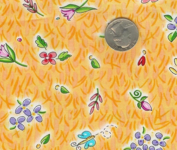 CLEARANCE - Fat quarter - sweet yellow flowers with butterflies cotton quilt fabric