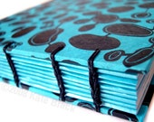BLACK AND BLUE . Vivid Screenprinted Lokta Journal or Notebook.
