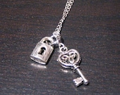Lock and Key Necklace on Chain