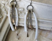 Paradigm Shift n3.  romantic tribal - shell metal mother of pearl  - asymmetric assemblage earrings