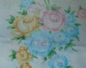 Sweet Vintage Pastel Floral Sheet Set - Top Sheet and Pillowcases