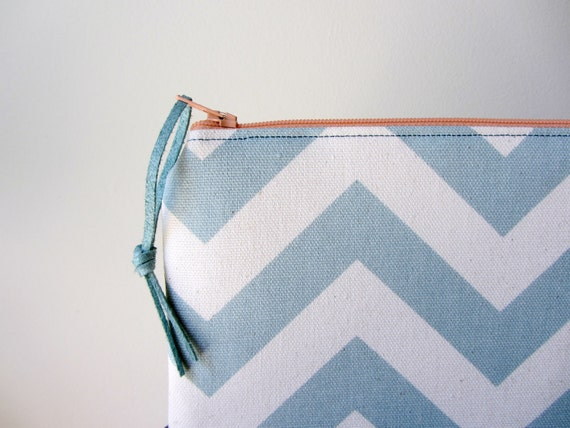 Zip Pouch Mini Clutch - Coral and Steel Blue Chevron