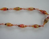 Copper Speckled Art Bead Long Necklace