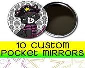 """10 Custom 2.25"""" Pocket Mirrors (FULL COLOR) Professional Laser Printed 2.25 Inch"""