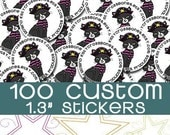 "100 Custom 1.3"" Round Stickers (FULL COLOR) Professional Laser Printed Stickers 1.3 Inch"