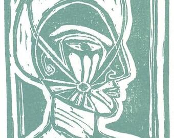 Haloed Mind Linoleum Print Card
