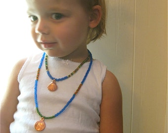 BEACH BUM Children's Necklace Spiral Shells Blue and Green