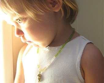 Children's Owl Beaded Amulet Talisman Necklace Semi Precious Stone Jewelry Faceted Gemstone