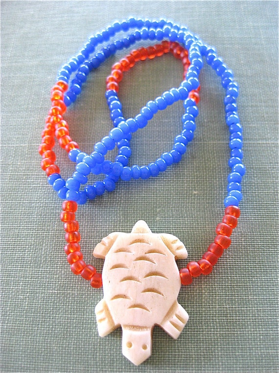 Turtle Totem Long Glass Beads Child's Necklace