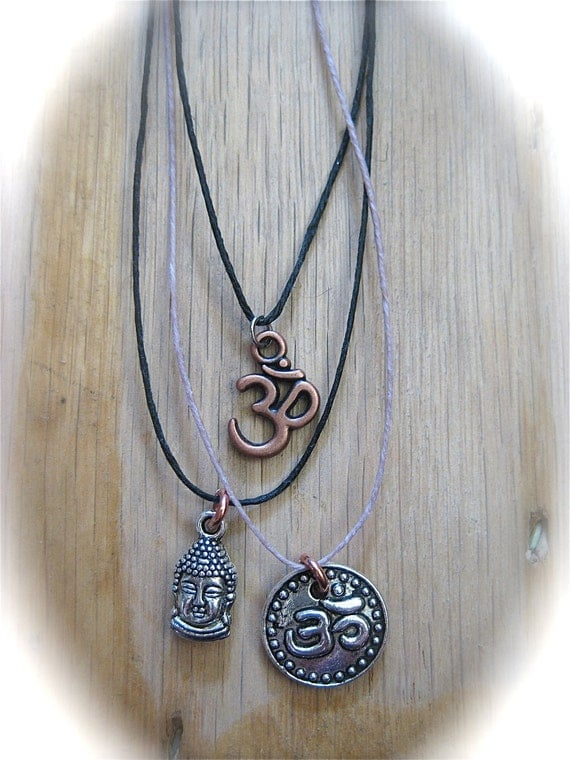 UNIVERSAL Om Necklace Copper on Linen Simple Layering