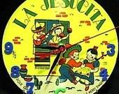 Clock Vintage Picture Record Recycled La Jesucita