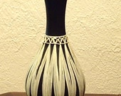 Vintage Vase Black with Straw Detail