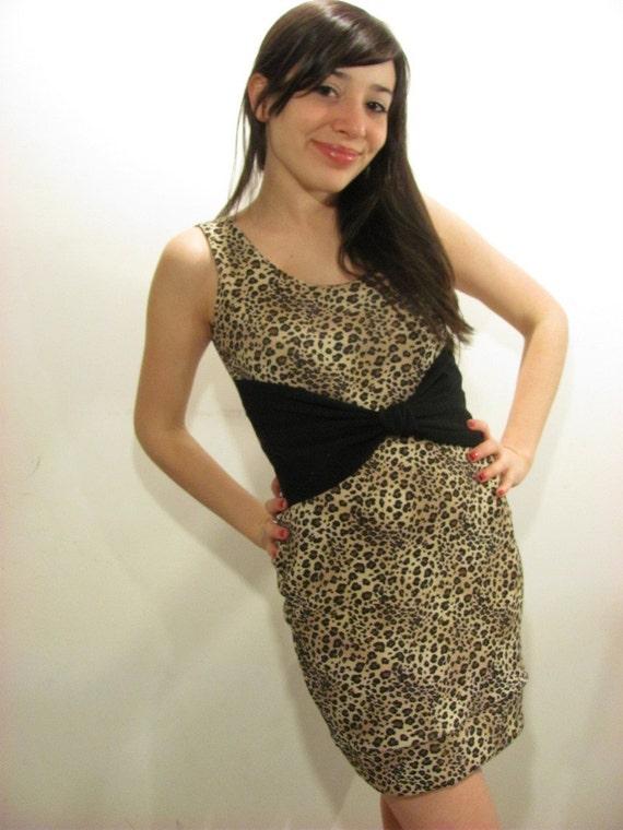 2 Day Sale Big Bow Leopard Tank Dress