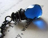 Sapphire Necklace Blue Sapphire Necklace Blue Quartz Necklace Blue Quartz Pendant Sapphire Pendant Blue Sapphire Pendant Oxidized Silver