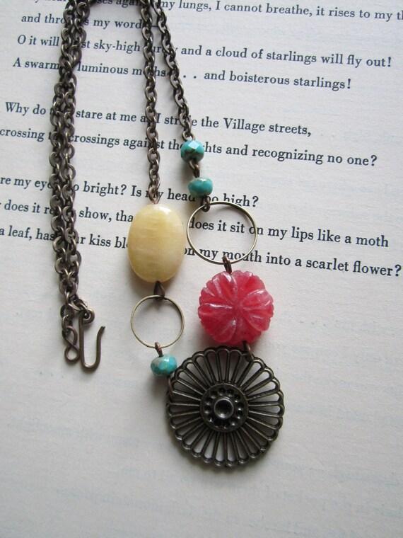 Brass Necklace Jade Necklace