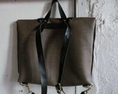 briefcase rucksack in taupe and black