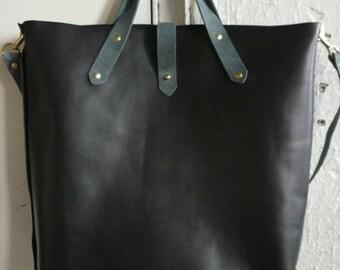 black and gray woodsman tote