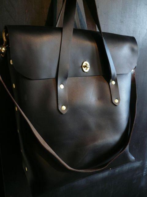 black leather diplomat tote