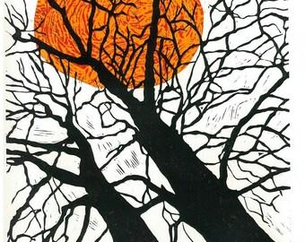 Lino Print - TIGER SUN - Landscape Print - Modern Interior Art 13x19 - Ready to Ship