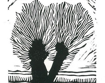 LINOCUT RELIEF PRINT - Double Willow - Wall Art Wall Decor Print - Ready to Ship