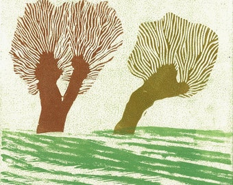 """WOODBLOCK LINOCUT PRINT - Double Brown Willows - Relief Monoprint 6"""" x 6"""""""