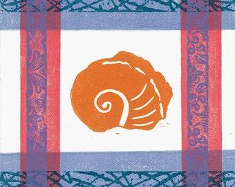 """LINO  PRINT - Nautilus Shell 1-  Monoprint 6""""x6"""""""
