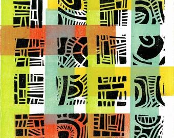 """CHILDREN WALL ART -  Mod Pattern 4 -  Linocut Relief Print Monoprint 6""""x6"""""""