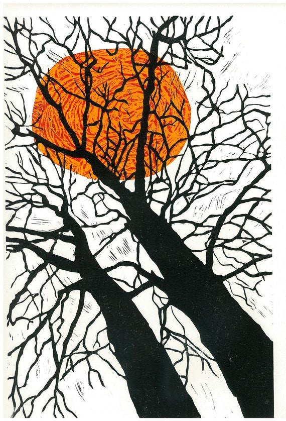Lino Print - TIGER SUN - Landscape Print - Modern Interior Art 13x19 - Ready to Ship