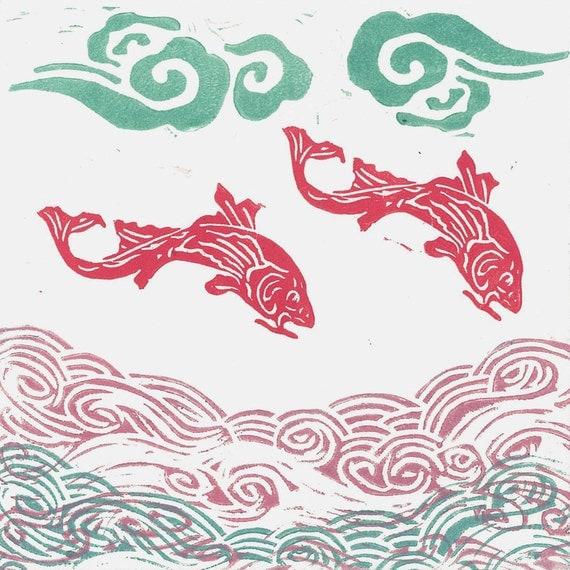 LINO PRINT -  Pink Flying Fish -  Monoprint - Children Wall Art