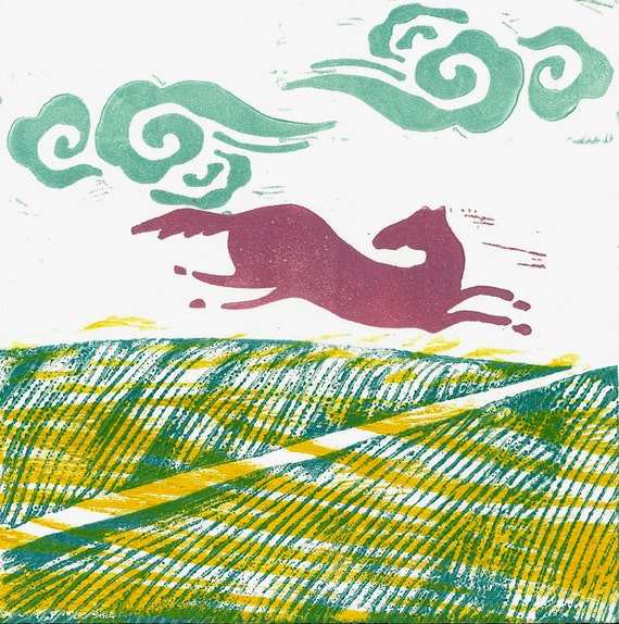 LINOCUT RELIEF PRINT - Running Horse 2 - Monoprint Woodblock Print