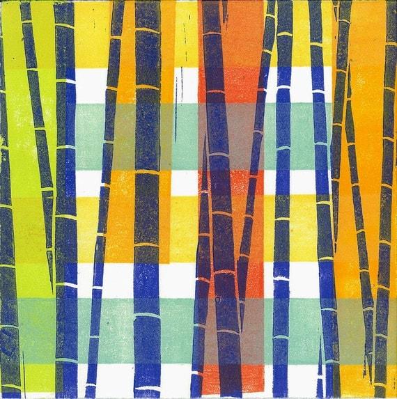 "MONOPRINT LINOCUT PRINT-  Bamboo Pattern 8 - Nursery Art 6""x6"""
