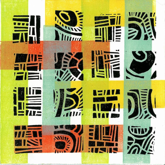 "CHILDREN WALL ART -  Mod Pattern 4 -  Linocut Relief Print Monoprint 6""x6"""
