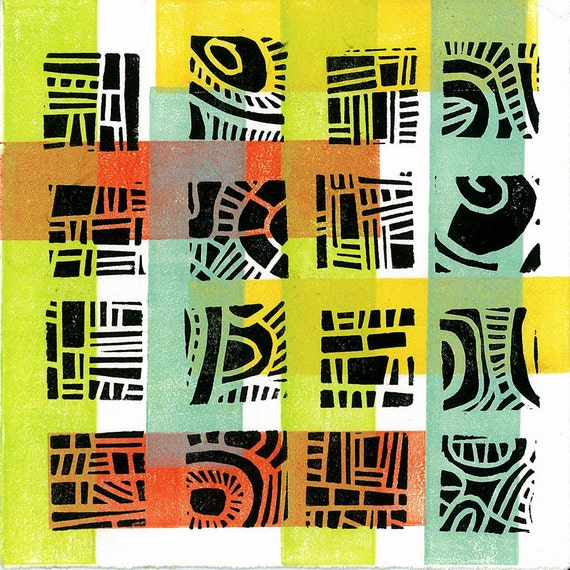 "CHILDREN WALL ART -  Mod Pattern 4 -  Linocut Relief Print Monoprint 6""x6"" - Ready to Ship"