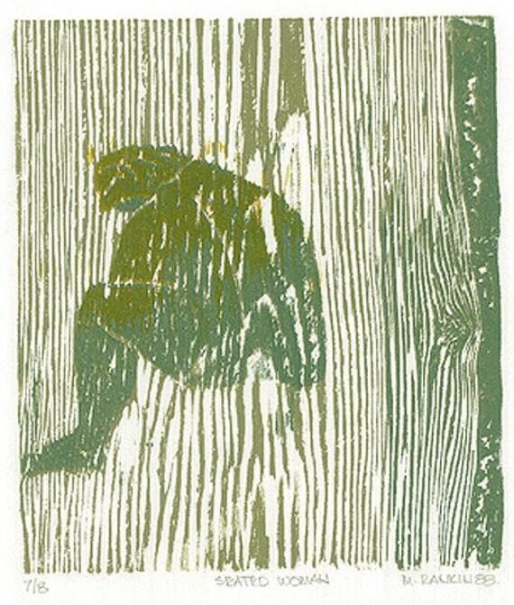 Reduction Woodcut Print - SEATED WOMAN - 10x13Woodblock Print
