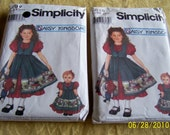 Two Symplicity Daisy Kingdom matching girls dress patterns with doll patterns