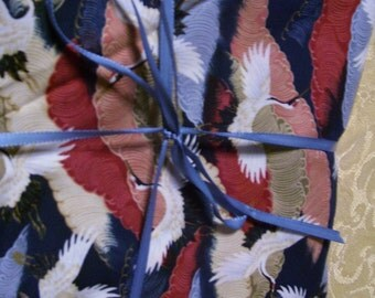 3 yards of beautiful crane print fabric