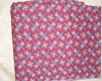 4 yards plus of red patterned fabric