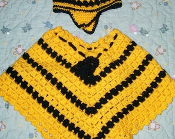 Child's Honey Bee Poncho and matching hat