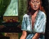 Good Morning Woman Window Original Framed Watercolor Art Remembering a Dream Belinda DelPesco