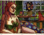 Woman with Cat by a Window Original Abstract Expressionist Collagraph Art Belinda DelPesco