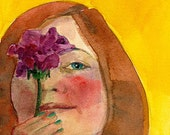 Original Watercolor Illustration Portrait Painting Girl Redhead Holding a Rose DelPesco